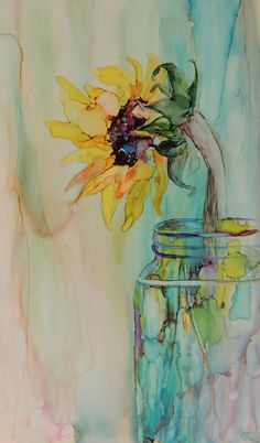 Ideas Painting Pencil Alcohol Inks For 2019 - Ink Painting Alcohol Ink Crafts, Alcohol Ink Painting, Alcohol Ink Art, Watercolor Cards, Watercolor Flowers, Watercolor Sunflower, Art Paintings, Watercolor Paintings, Watercolors