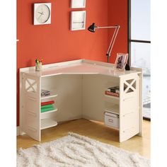 @Overstock - This stylish cream corner desk makes a great addition to a bedroom, small home office, or dorm room. Able to fit neatly in a corner, this desk is a real space saver. It offers a fun but chic style, a spacious workspace, and hidden shelves for storage.http://www.overstock.com/Home-Garden/Legare-Corner-Desk/6813684/product.html?CID=214117 $209.69