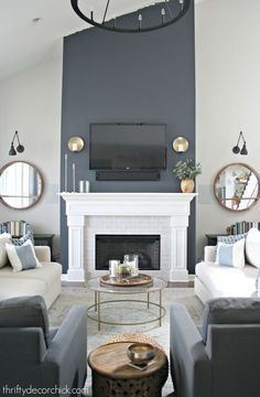 Tall fireplace wall transformation with paint! : Dramatic fireplace transformation with paint! from Thrifty Decor Chick Blue Accent Walls, Accent Walls In Living Room, Living Room Grey, Home Living Room, Living Room Designs, Blue Walls, Grey Fireplace, Living Room With Fireplace, Fireplace Surrounds