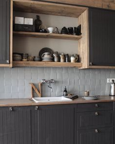 Annie Sloan, Chalk Paint, Double Vanity, Industrial Design, Kitchen Design, Kitchen Cabinets, Grey, Home Decor, Restaining Kitchen Cabinets