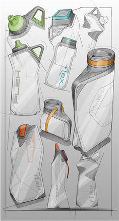 Sport Bottle Explorations on Behance Industrial Design Portfolio, Industrial Design Sketch, Portfolio Design, Sketch Design, Design Art, Sketch Inspiration, Design Inspiration, Bottle Drawing, Sketches Tutorial
