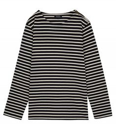 Travis Sailor Shirt in Navy Blue. A sophisticated update on the classic Breton stripe top from the Parisian atelier, with a zip shoulder detail. Cut from a traditional compact cotton jersey, the shirt's finish is immaculate, with small side vents a Sailor Shirt, Apc, Parisian, Cotton, Mens Tops, T Shirt, Fashion, Supreme T Shirt, Moda
