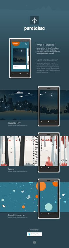 Paralaksa is a Windows Phone 8 app, which will allow you to compose your own unique lockscreen, basing on themes drawn by best Polish illustrators.