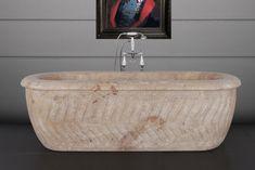 Hurlingham the Bath Company - Tivoli Marble Bath Marble Bath, Travertine, White Marble, Baths, Basement, Bathrooms, Carving, Toilets, Root Cellar