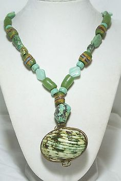 Vintage MOTHER OF PEARL LOCKET TRADE BEAD TURQUOISE JADEITE GLASS GREEN RARE !! eBay TALK: Get answers and con...