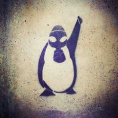 stencil made during occupygezi protests because one of turkish tv channels aired a document on penguins instead of protests