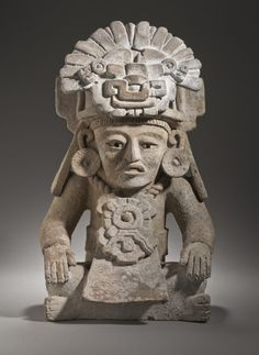 Seated Male Figure with Glyph C Headdress  Mexico, Oaxaca, Zapotec, Zapotec, 500-600  Tools and Equipment; containers  Ceramic  Diameter: 6 1/2 in. (16.51 cm); 19 1/2 x 12 x 10 1/2 in. (49.53 x 30.48 x 26.67 cm)  LACMA