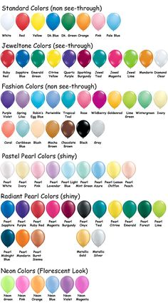 Bulk Inflated Balloon Pricing & Color Charts – Latex Color Chart & Pricing – M & M Balloon Co. of Seattle - Metarnews Sites Balloon Flowers, Red Balloon, Balloon Bouquet, Balloon Arch, Balloon Garland, Balloon Ideas, Balloon Decorations Without Helium, Balloon Centerpieces, Qualatex Balloons