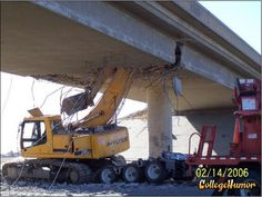 """Solve: A backhoe weighing 8 tons is on top of a flat-bed trailer and heading east.  The extended shovel arm is made of hardened refined steel and the approaching overpass is made of commercial-grade concrete, reinforced with steel rebar.  When the shovel"