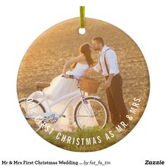 Mr & Mrs First Christmas Wedding Photo Ornament Designed by fat*fa*tin. Easy to customize with your own text, photo or image. Our First Christmas Ornament, First Christmas Married, Christmas Wedding, Christmas Holidays, Christmas Ornaments, Xmas, Christmas Ideas, Happy Holidays, Christmas Crafts