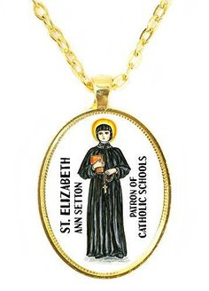 St Elizabeth Ann Setton Patron of Catholic Schools Huge 30x40mm Bright Gold Pendant