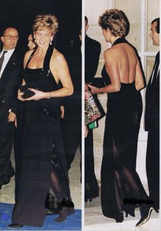 28 November 1994 Charming Princess with President Valery Giscard d'Estaing at the UNESCO charity gala; Palace of Versailles, Paris, France.