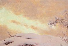 Vinterlandskap i skymning, Storlien by Gustaf Fjaestad