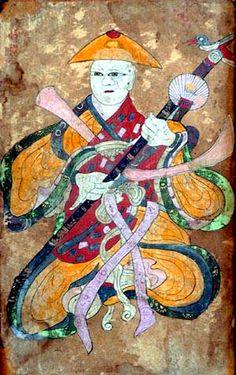 A well-used Mushindo folk painting of a Mudang's personal deity (Momju-shin 몸주신)
