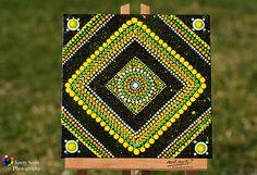 Fruta cítricos círculos y cuadrados Original punto arte