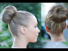 PERFECT SOCK BUN. Best Method For Layers too!! Strong elastic (i.e. men sock), don't roll sock all the way down, leave tube to cover hair,