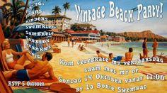 Retro Beach Party Postcard Invitation