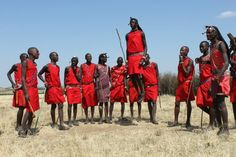 Maasai warriors doing the jump dance. It's also know as Adumu or Aigus, which means