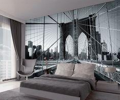 New York - Brooklyn Bridge Wall Mural Apartment Wallpaper, Interior Wallpaper, Room Wallpaper, Bridge Wallpaper, New York Wallpaper, Bedroom Themes, Bedroom Wall, Brooklyn Bridge, Modern Boys Rooms