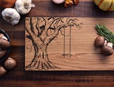 Personalized Cutting Board, Custom Engraved Wood Oak Tree w/ Carved Heart - 7.5x15 - Wedding or Anniversary Gift, Christmas Gift for Couple