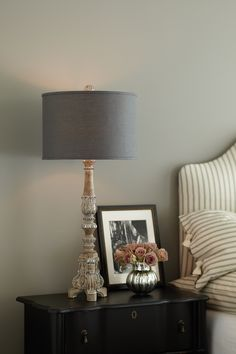 Candlestick lamp with charcoal linen lampshade