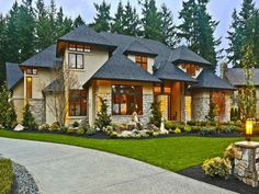 roof, stucco, rock, and window trim and windows