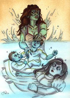 La Llorona ink and watercolor by Ashley De Vor