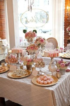 Looking for bridal shower decorations ideas? Check out this 15 classy and elegant bridal shower decorations that you can't say no to. Blush Bridal Showers, Simple Bridal Shower, Bridal Shower Flowers, Bridal Shower Desserts, Bridal Shower Tables, Bridal Shower Decorations, Wedding Decorations, Tea Party Bridal Shower, Shower Centerpieces