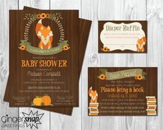 Fall/ Fox Themed Baby Shower Invitation - Perfect for a Fall Baby Shower! ***********************************************************