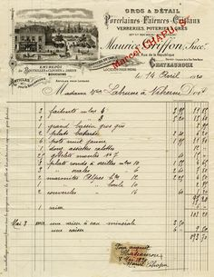 Here is an aged French vintage invoice dated April 14, 1920. Click on image to enlarge.