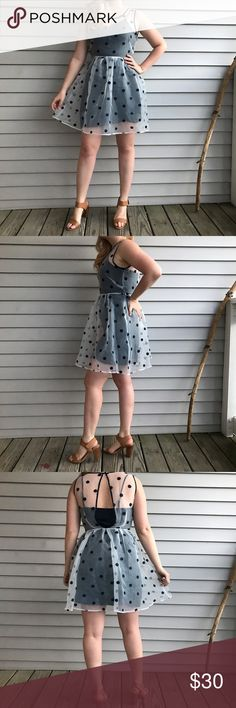 Keds polka dot summer dress 🌻 Super cute sheer & embroidered polka dot keds dress This is very flattering & comfortable Zips up on the side Comes with the navy blue silk slip Original price: $60 Size: Small Keds Dresses Mini