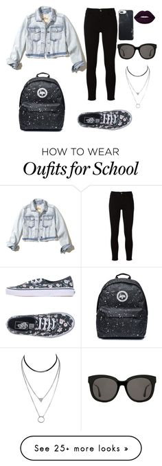 """""""011"""" by yasminmaiap on Polyvore featuring Hollister Co., Frame, Vans, Gentle Monster, black and jeans"""