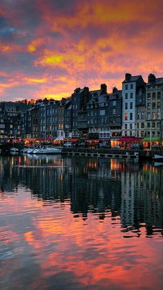 Sunset in Honfleur, Normandie, France. So beautiful here & did I mention the food in France is the best food on the planet. My favorite used to be Mediterranean until we spent a week in France. Places Around The World, The Places Youll Go, Places To See, Around The Worlds, Best Vacation Destinations, Best Vacations, Vacation Spots, Honfleur, France Travel
