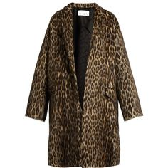 Raey Leopard-print wool-blend blanket coat (30.435 CZK) ❤ liked on Polyvore featuring outerwear, coats, raey, leopard coat, leopard print coat, wool blend coat and single-breasted trench coats