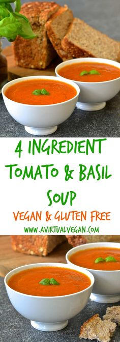 Juicy, plump tomatoes & aromatic fresh basil come together beautifully in this simple, fresh and vibrant soup which takes only ten minutes to make.  via @avirtualvegan