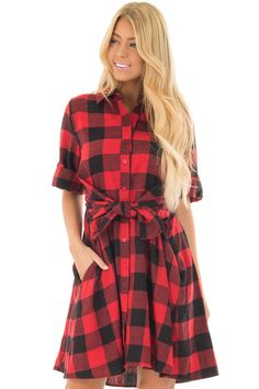 Lime Lush Boutique - Red Plaid Short Sleeve Button Up Collared Dress, $46.99 (https://www.limelush.com/red-plaid-short-sleeve-button-up-collared-dress/)