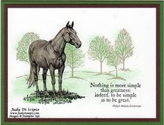 use of tree stamp behind horse. Control Freaks, Horse Cards, Stamping Up Cards, Rubber Stamping, Westerns, Birthday Cards For Men, Fathers Day Cards, Animal Cards, Sympathy Cards