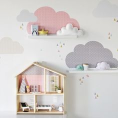 ☁️ In miniature for the IKEA FLISAT dollhouse and with the clouds wall decals from our shop, it works immediately. Kids Interior, Baby Bedroom, Girl Room, Playroom, Room Decor, Nursery, Kids Rugs, Decoration, Ikea Toddler Room