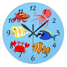 #fishing - #Vibrant color Aquatic life cartoons Large Clock