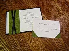 Layered and wrapped custom Designed Wedding Invitation, nature, green & black http://www.invitationtwist.ca/