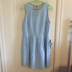 Gap Chambray sun dress size 6 Super cute gap chambray sundress with exposed zipper detail. The bottom edges are frayed and there are pleats around the waist. I am reposting it since it is too big--I forgot to size down in gap clothes! It looks brand new and am so sad it doesn't fit. GAP Dresses