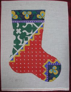 "Suz HAND PAINTED NEEDLEPOINT CANVAS CHRISTMAS STOCKING Floral Graphic DZ 18"" #Suz"