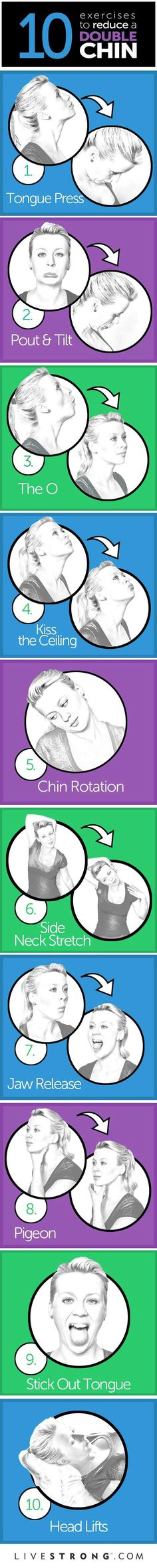 The 10 Best Exercises To Reduce A Double Chin… Have All Your Selfies Sprouted Second Chins Lately? Thankfully, Neck And Chin Toning Can Be Achieved Without Surgery -- All It Takes Is Adding A Few Targeted Exercises To Your Workout…Click On Picture To Learn How To Do These Facial/Neck Exercises Properly…