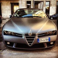 Alfa Romeo Spider with a matte grey paintjob Lamborghini, Maserati, Bugatti, Ferrari, Alfa Romeo Brera, Alfa Romeo Spider, Alfa Romeo Cars, Alfa Cars, Sport Cars