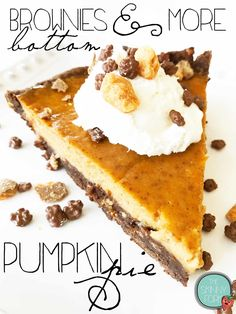 Brownies & More Bottom Pumpkin Pie (Sponsored) — The Skinny Fork Fun Desserts, Delicious Desserts, Yummy Food, Chocolate Meringue, Fall Recipes, Yummy Recipes, Thanksgiving Feast, Fall Baking, Gluten Free Cooking