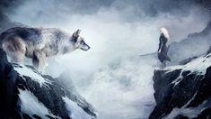 wolf, mountain, girl, animals, winter, drawing, snow, fantasy, art