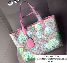 166317fe022352 Gucci GG Blooms Reversible Leather Tote Bag 368568 Green/Pink 2016 Gucci  Tote Bag,