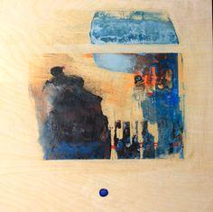 """BLUE IMPULSE I,   24x24""""  encaustic on wood"""