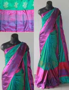 Rama Green with pink,violet shaded banaras soft silk saree with leaf motif near the border comes with running blouse.This exceptionally well designed silk saree Classy Clothes, Classy Outfits, Indian Beauty Saree, Indian Sarees, Indian Attire, Indian Wear, Indian Dresses, Indian Outfits, Banaras Sarees