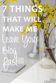 There are certain design elements about blogs that just make it difficult for the readers to enjoy... here's the 7 things that will make me leave your blog.